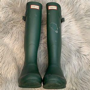 Green tall Hunter boots size 7 rain boots